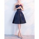 2018 Trendy A-Line Strapless Knee Length Satin Formal Cocktail Dress