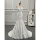 Cheap Custom Elegant Trumpet Sweetheart Floor Length Applique Wedding Dress