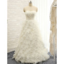 Stunning Sweetheart Floor Length Tulle Ruffle Skirt Wedding Dress
