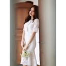 Designer Trumpet Short Sleeves Knee Length Lace Reception Wedding Dress
