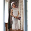 Designer Trumpet Sleeveless Tea Length Lace Reception Wedding Dress