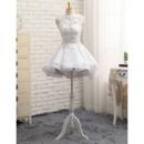 2018 Petite A-Line Sleeveless Mini/ Short Petite Organza Wedding Dress