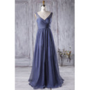Inexpensive V-Neck Sleeveless Floor Length Chiffon Bridesmaid Dress