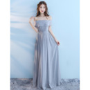 Women's Discount Off-the-shoulder Long Chiffon Bridesmaid Dress