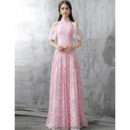 Elegant Mandarin Collar Cold Shoulder Long Lace Formal Evening Dress