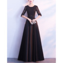 Affordable Elegant Long Black Satin Formal Mother Dress with Half Lace Sleeves