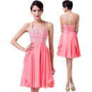 Girls Classy Halter Mini/ Short Chiffon Homecoming/ Cocktail Dress