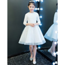 Inexpensive Pretty Little Girls Short Lace Organza Flower Girl Dress with Long Sleeves