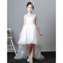2018 Beautiful Mandarin Collar Sleeveless High-Low Flower Girl Dress