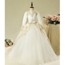 2018 Stunning Ball Gown Long Flower Girl Dress for Wedding Party with Long Sleeves