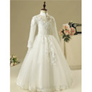 Custom Pretty Mandarin Collar Long Flower Girl Dress with Long Sleeves