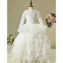 Inexpensive Stunning Layered Skirt Flower Girl Dress for Wedding Party with Long Sleeves