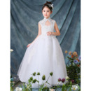 Stunning Mandarin Collar Floor Length Organza Flower Girl Dress