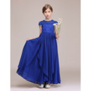 2019 New Cap Sleeves Ankle Length Chiffon Junior Bridesmaid Dress