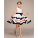Girls Pretty Knee Length Flower Girl Dress with Belts and Stripes