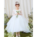 2019 Pretty Ball Gown Ankle Length Flower Girl Dress with Long Sleeves