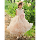 Discount Spaghetti Straps Ankle Length Organza Flower Girl Dress