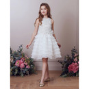 Stunning Knee Length Organza Layered Skirt Beading Flower Girl Dress