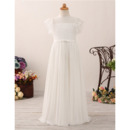 Discount Chiffon Flower Girl/ First Communion Dress with Short Sleeves
