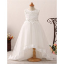 Inexpensive Sweep Train High-Low Flower Girl Dress for Wedding