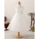Custom A-Line Tea Length Organza Flower Girl Dress for Wedding