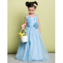 Discount Straps Floor Length Taffeta Flower Girl Dress for Wedding
