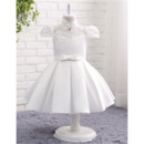 Custom Ball Gown Cap Sleeves Knee Length Flower Girl Dress