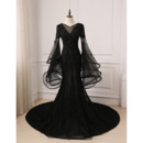 2019 Mermaid Court Train Black Prom Dress with Trumpet Sleeves