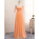 Custom Floor Length Chiffon Prom/ Formal Dress with 3/4 Long Sleeves
