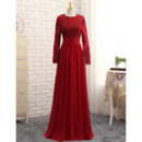 2019 New Style Floor Length Satin Prom Dress with Long Sleeves