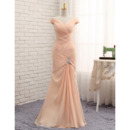 Custom Mermaid V-Neck Floor Length Chiffon Pleated Prom Dress