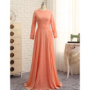 Custom Floor Length Chiffon Prom/ Formal Dress with Long Sleeves