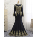 Sexy Mermaid Floor Length Black Prom/ Formal Dress with Long Sleeves