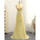 Elegant One Shoulder Floor Length Chiffon Prom/ Formal Dress