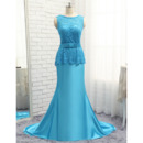 Custom A-Line Floor Length Lace Satin Prom/ Formal/ Party Dress