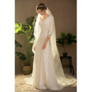 Affordable V-Neck Long Satin Wedding Dresses with 3/4 Long Sleeves