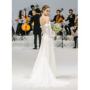 Discount Spaghetti Straps Long Chiffon Wedding Dress with Long Sleeves