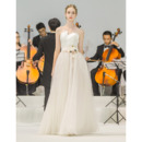 Vintage Strapless Floor Length Satin Organza Wedding Dresses