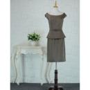 Inexpensive Column Knee Length Satin Mother Dress for Wedding