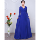 Custom Floor Length Chiffon Mother Wedding Dress with Long Sleeves