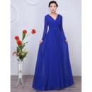 Custom Floor Length Chiffon Mother Wedding Dress with Long Sleeves