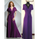 Affordable Floor Length Chiffon Mother Dress with Short Sleeves