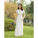 Custom Short Sleeves Floor Length Lace Satin Reception Wedding Dresses