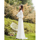 Custom V-Neck Long Sleeves Long Chiffon Reception Wedding Dresses