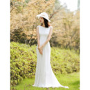 Elegant Sheath Sleeveless Floor Length Chiffon Reception Wedding Dress