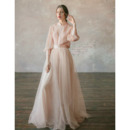 2019 New Mandarin Collar Organza Wedding Dresses with Long Sleeves