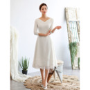 Affordable V-Neck Knee Length Satin Bridal Dress with 3/4 Long Sleeves