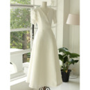 Discount Tea Length Satin Reception Bridal Dress with Short Sleeves