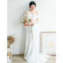 2020 New Style Asymmetric One Shoulder Long Chiffon Bridal Dress