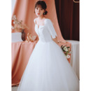 Custom Ball Gown Square Neck Long Wedding Dress with Half Sleeves